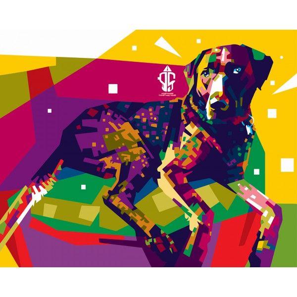 Картина по номерам Радужная собака (Без коробки)