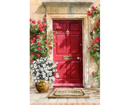 Картина по номерам Двери в окружении цветов