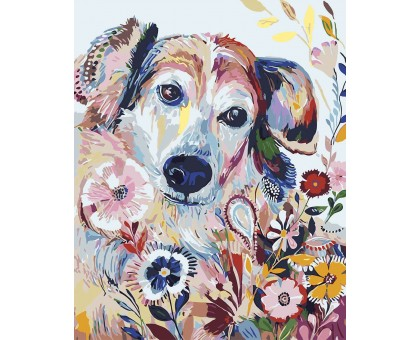 Раскраска по номерам Цветочный пёсик