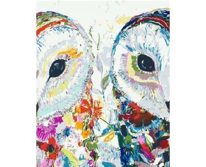 Картина по номерам Цветочные совушки