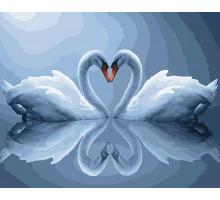Картина по номерам Лебеди в лунном свете