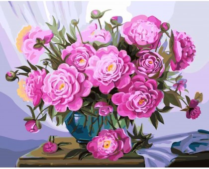 Картина по номерам Пионы в синей вазе