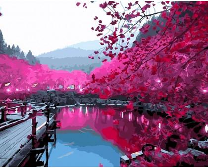 Картина по номерам Вишневый сад в цвету
