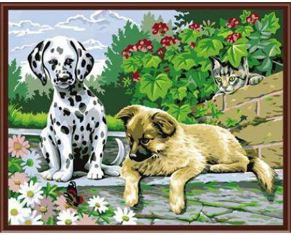 Картина по номерам Щенки и бабочка