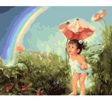 Картина по номерам Малышка в волшебном саду