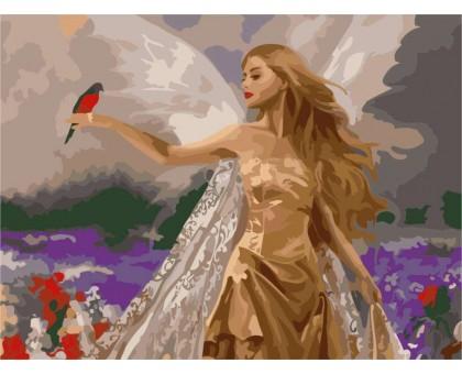 Картина по номерам Фея с попугаем