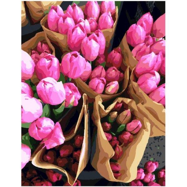Картина по номерам Продавец тюльпанов (БЕЗ КОРОБКИ)