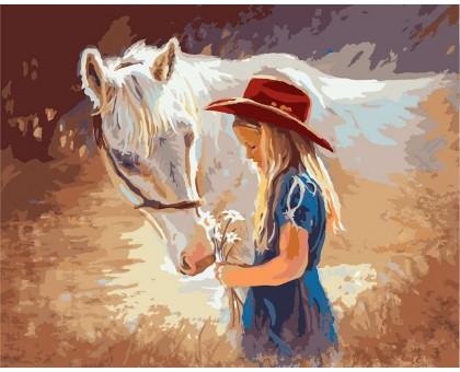 Картина по номерам Девочка с белой лошадью