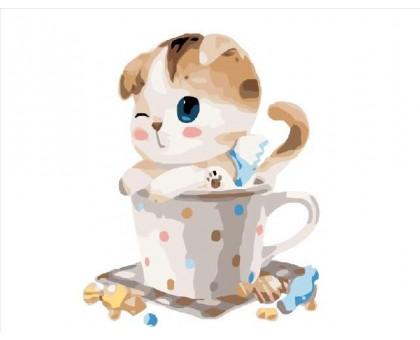 Картина по номерам Котик в чашке