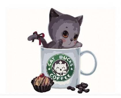 Картина по номерам Серый котик в кофейной чашке