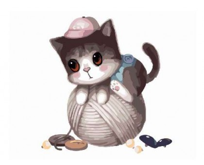 Картина по номерам Котик с клубком