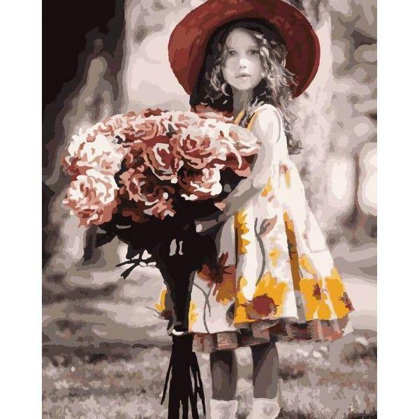 Картина по номерам Девочка с букетом (БЕЗ КОРОБКИ)