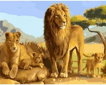Картина по номерам Львиное семейство