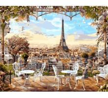 Картина по номерам Кафе с видом на Эйфелеву башню