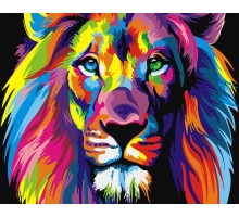 Картина Раскраска по номерам Радужный лев