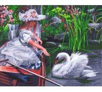 Картина по номерам Девочка и лебедь (Без коробки)