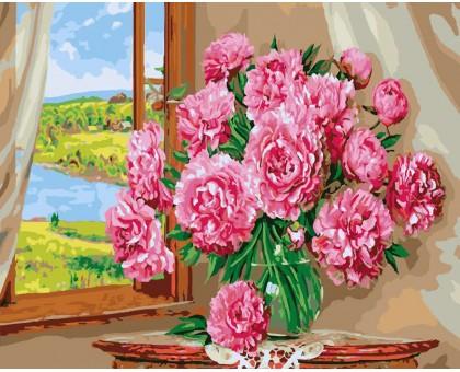 Картина по номерам Пионы на окне