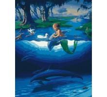 Картина по номерам Маленький русал с дельфинамы
