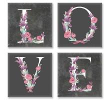 Картина по номерам Квартет Слово LOVE Лофт