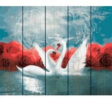 Картина по номерам на дереве  Танец лебедей