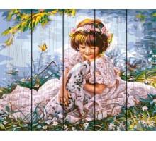 Картина по номерам на дереве  Девочка с далматинцем