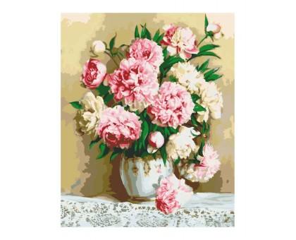 Раскраска по номерам Нежно-розовые пионы