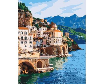 Раскраска по номерам Город на побережье