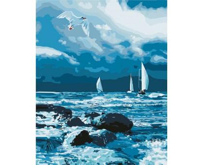 Раскраска по номерам Парусники на море
