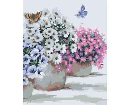 Раскраска по номерам Цветы в горшочках