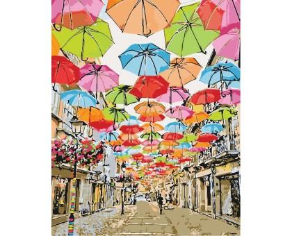 Картина по номерам Улица парящих зонтиков