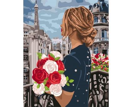 Раскраска по номерам Девушка с розами
