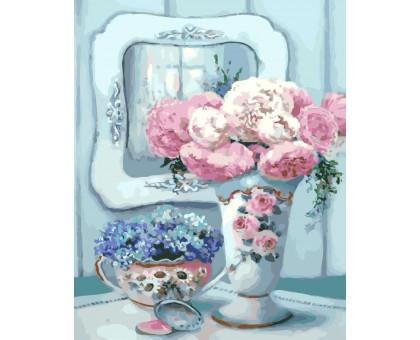 Картина по номерам Натюрморт с пионами и зеркалом