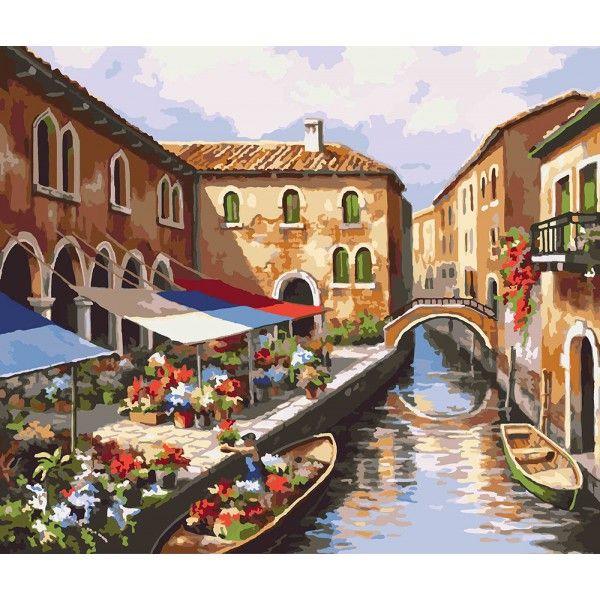 Картина по номерам Цветочный рынок