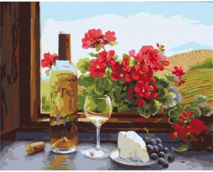 Картина по номерам Натюрморт с вином и геранью
