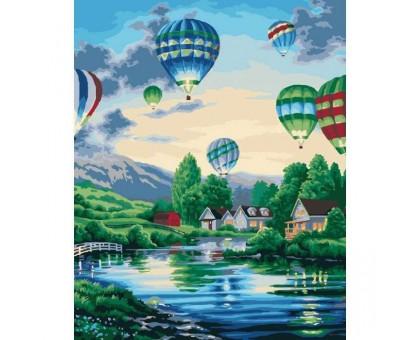 Картина по номерам Воздушные шары над рекой