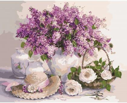 Картина по номерам Сирень и белые розы