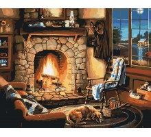 Картина по номерам Осенний вечер у камина