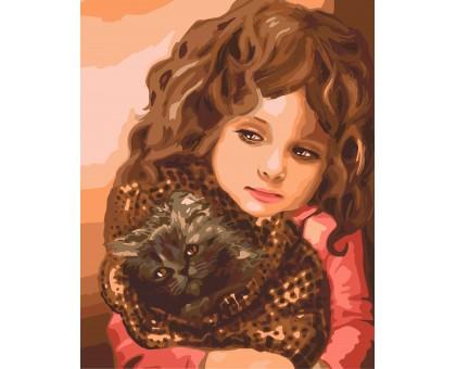 Картина по номерам Малышка с котенком