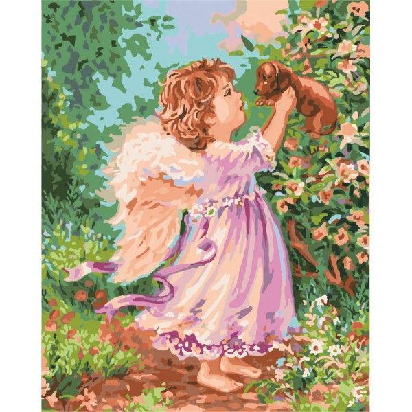 Картина по номерам Ангел со щенком