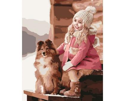 Картина по номерам Прогулка с собачкой