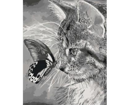 Картина по номерам Котенок и бабочка