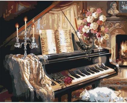 Картина по номерам Музыкальный вечер у камина