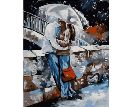 Картина по номерам Любовь под дождем