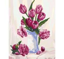 Картина по номерам Букет бордовых тюльпанов