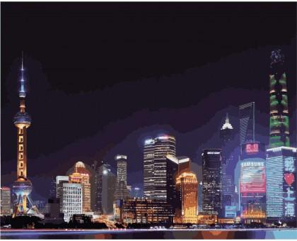 Раскраска по номерам Ночной Шанхай