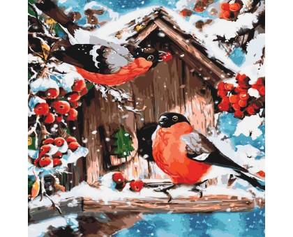 Картина по номерам Кормушка для снегирей