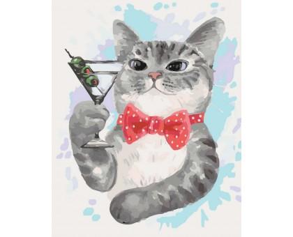Картина по номерам Кот с бокалом мартини
