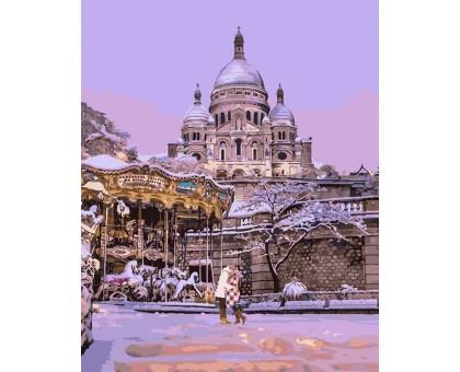 Картина по номерам Поцелуй в заснеженном Париже