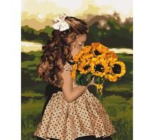 Картина по номерам Девочка с подсолнухами