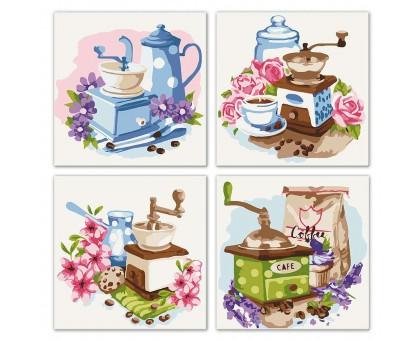 Картина по номерам Квартет Цветочное кофе
